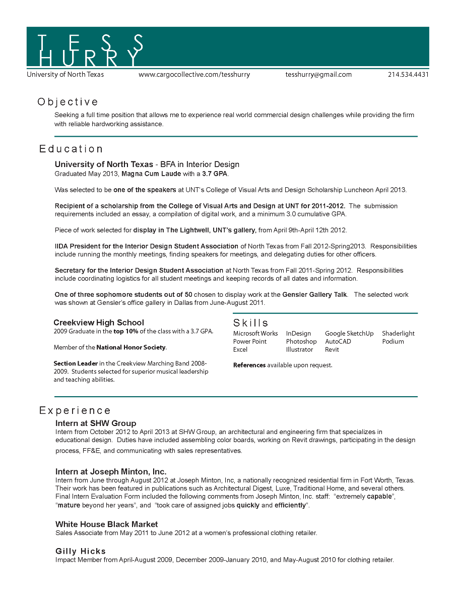 interior design sle resume interior designer resume template